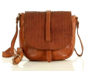 Marco Mazzini Torebka listonoszka saddle bag genuine leather brąz camel